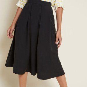 Modcloth Black Pleated Classic Majesty Midi Skirt